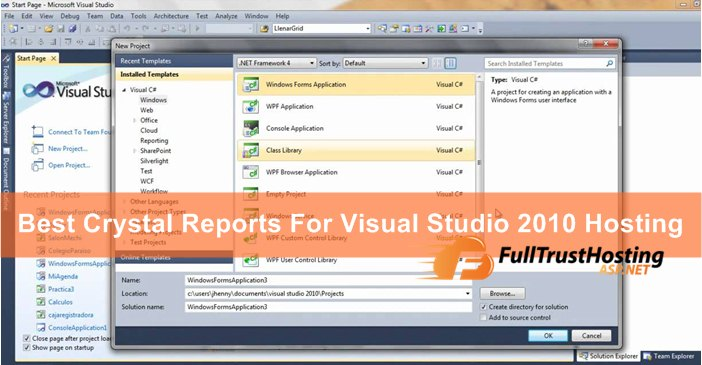 Best Crystal Reports for Visual Studio 2010 Hosting